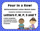 """Four In A Row!"" Letter Recognition Game (M, F, P, S, T)"
