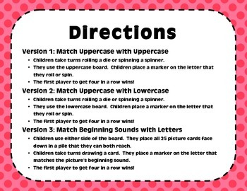 """""""Four In A Row!"""" Letter Recognition Game (N, C, B, L, A)"""
