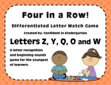 """Four In A Row!"" Letter Recognition Game (Z, Y, Q, O, W)"