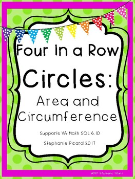 Four In a Row: Area and Circumference of Circles