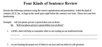 Four Kinds of Sentence Review