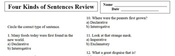 Four Kinds of Sentence Review #2