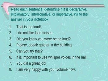 Four Kinds of Sentences PowerPoint