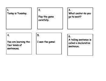 Four Kinds of Sentences Road Trip Game