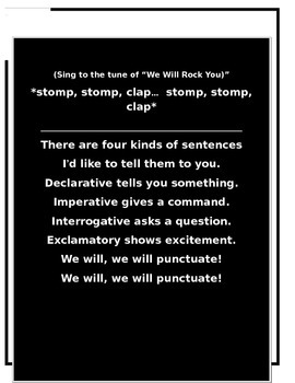 Four Kinds of Sentences Song and Worksheet