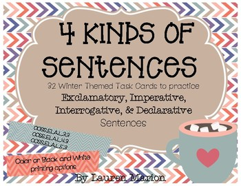 Four Kinds of Sentences Task Cards - Winter Themed