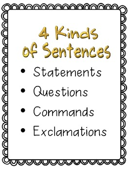 Four Kinds of Sentences...An Interactive Notebook Freebie!