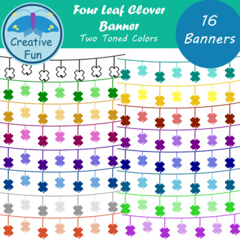 Four Leaf Clover Banner Clipart: Two Toned