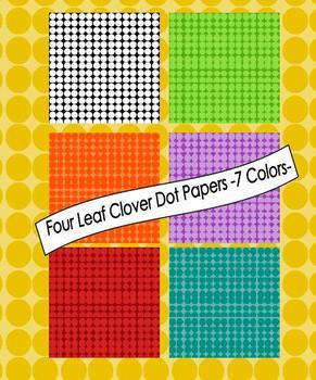 Four Leaf Clover Dots Digital Papers