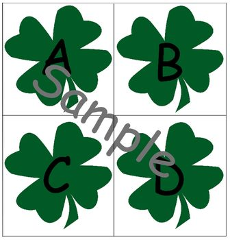 Four Leaf Clover Lower and Upper Case Alphabet Cards St. P