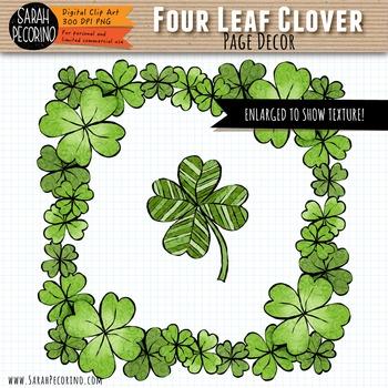 Four Leaf Clover Page Decor Clip Art