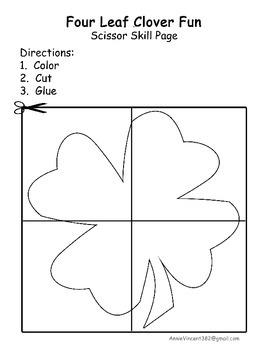 Four Leaf Clover Scissor Skill Page St. Patrick's Cutting Practice