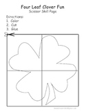 Four Leaf Clover Scissor Skill Page St. Patrick's Cutting