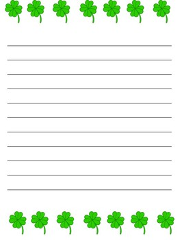 Four Leaf Clover Writing Paper