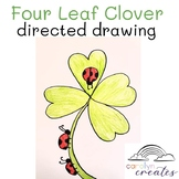 Four Leaf Clover with Ladybugs Directed Drawing