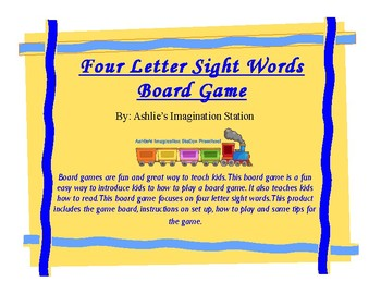 Four Letter Sight Word Board Game
