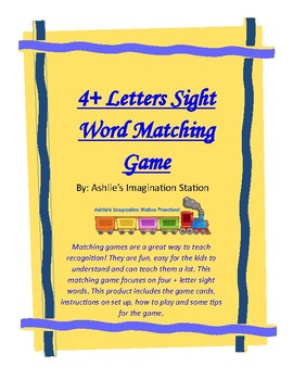 Four + Letter Sight Word Matching Game