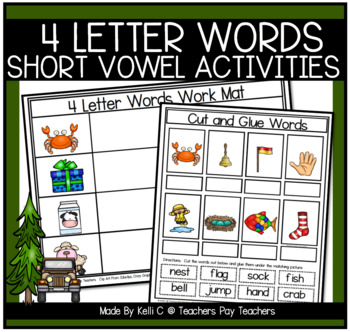 Decoding Words with 4 Letter Word Flashcards and Workmats