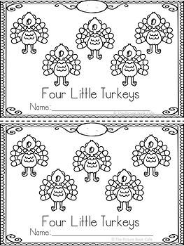 Four Little Turkeys-Thanksgiving-Emergent Reader