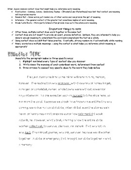 Four Main Types of Context Clues Handout with Practice