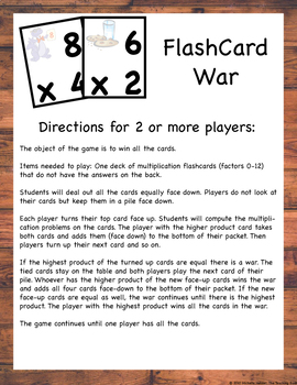 Multiplication Fact Mastery Games and Flash Cards