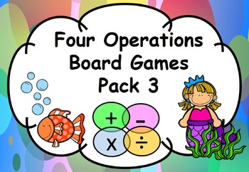 Maths Four Operations Board Games Add, Subtract, Multiply, Divide Pack 3