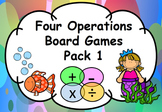 Maths Four Operations Board Games Add, Subtract, Multiply, Divide Pack 1