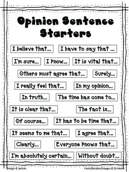 Four Opinion Writing Prompts