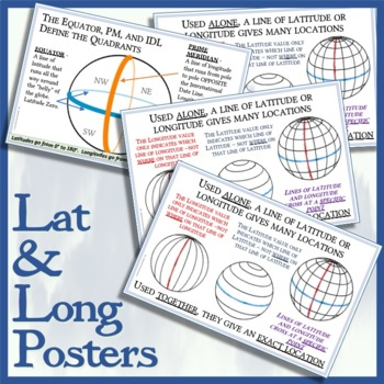 Four-Pack of Hemisphere / Lat and Long Posters - Easy-to-Print 11 x 17