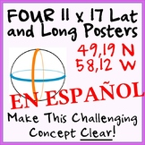 Four-Pack Hemisphere / Lat and Long Posters - SPANISH - Ea