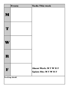 Four Page per Week Teacher planner