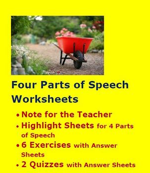 Four Parts of Speech Worksheets