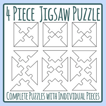 Four Piece Diagonal Jigsaw Puzzle Template with Individual Pieces Separate