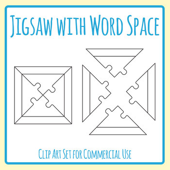 Four Piece Jigsaw Puzzle Template with Space for Words Clip Art | TpT