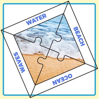 Four Piece Jigsaw Puzzle Template with Space for Words Clip Art