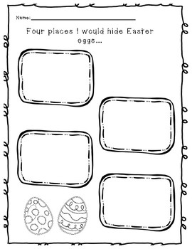Four Places I Would Hide Easter Eggs - Free Easter Writing