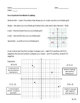 Four Quadrant Coordinate Graphing