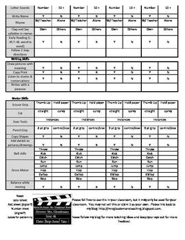 Four Quarter Observational Assessment Checklist for 4k/Preschool