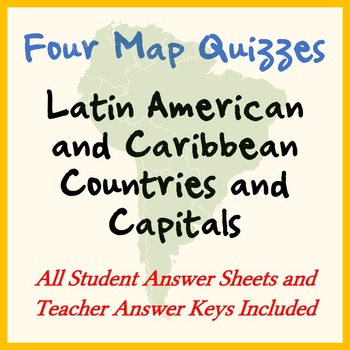 Four Map Quizzes - Latin America / Caribbean Countries and ...