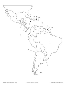 Four Map Quizzes - Latin America / Caribbean Countries and Capitals