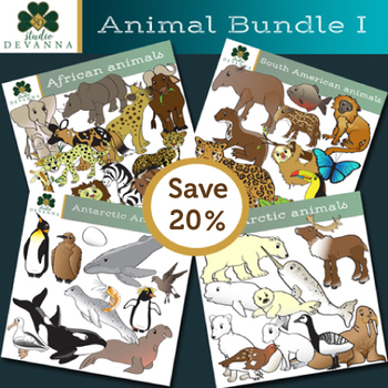 Four Regions Animal Clip Art Bundle