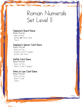 Four Roman Numerals Game SET- One Board Game and Three Card Games