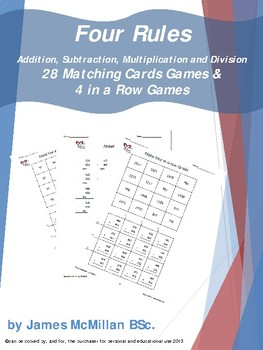 Four Rules 28 Matching Cards Games & 4 in a Row Games