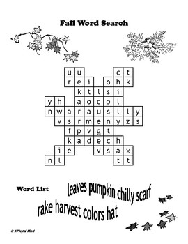 Four Seasonal Shaped Word Searches