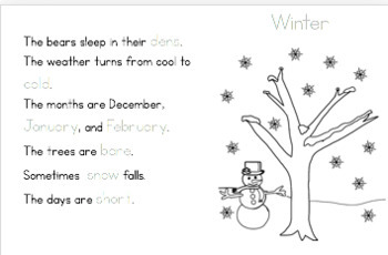 Four Seasons Activity Booklet K-2nd Grade