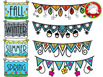 Four Seasons Banners and Buntings Clipart (Personal & Commercial Use)