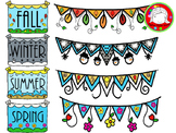 Four Seasons Banners and Buntings Clipart (Personal & Comm