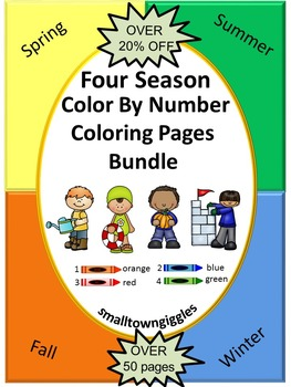 Four Seasons Theme, Color by Number Worksheets, Kindergarten Coloring Sheets