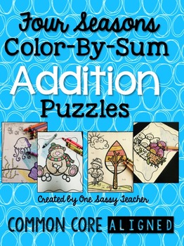 Four Seasons Color By Sum Addition Puzzles BUNDLE
