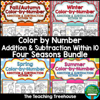 Four Seasons Color by Number Bundle ~ Addition & Subtraction Within 10